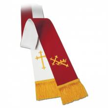 Clergy Stole 11734 - Reversible Red/White w/Symbols