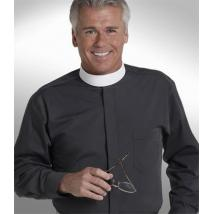 Black Long Sleeve Banded Collar Shirt Clergy Shirt SM107