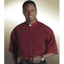 Burgandy Tab Collar Clergy Shirt SM109