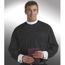 Black Long Sleeve with White French Cuffs Banded Collar Clergy Shirt SM115