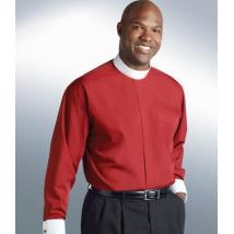 Red Long Sleeve with White French Cuffs Banded Collar Clergy Shirt SM118