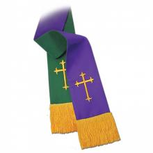 Clergy Stole 12698 - Reversible Hunter/Purple w/Cross