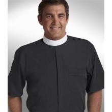 Black Short Sleeve Banded Collar Clergy Shirt SM103
