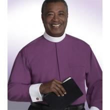 Purple Long Sleeve with White French Cuffs Banded Collar Clergy Shirt SM105