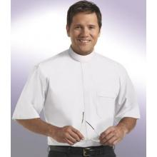 White Short Sleeve White Banded Collar Clergy Shirt SM114