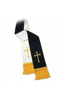 Clergy Stole 11728 - Reversible Black/White w/Cross