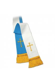 Clergy Stole 11730 - Reversible Blue/White w/Cross